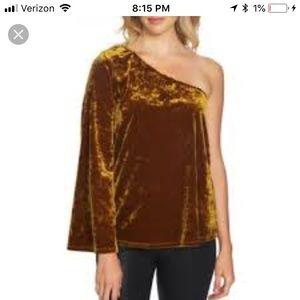 1.State Gold Velvet Blouse